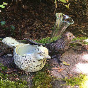 Bird Candle Holder and Tiny Bird Vase